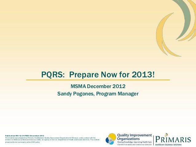 MSMA New PQRS Regulations
