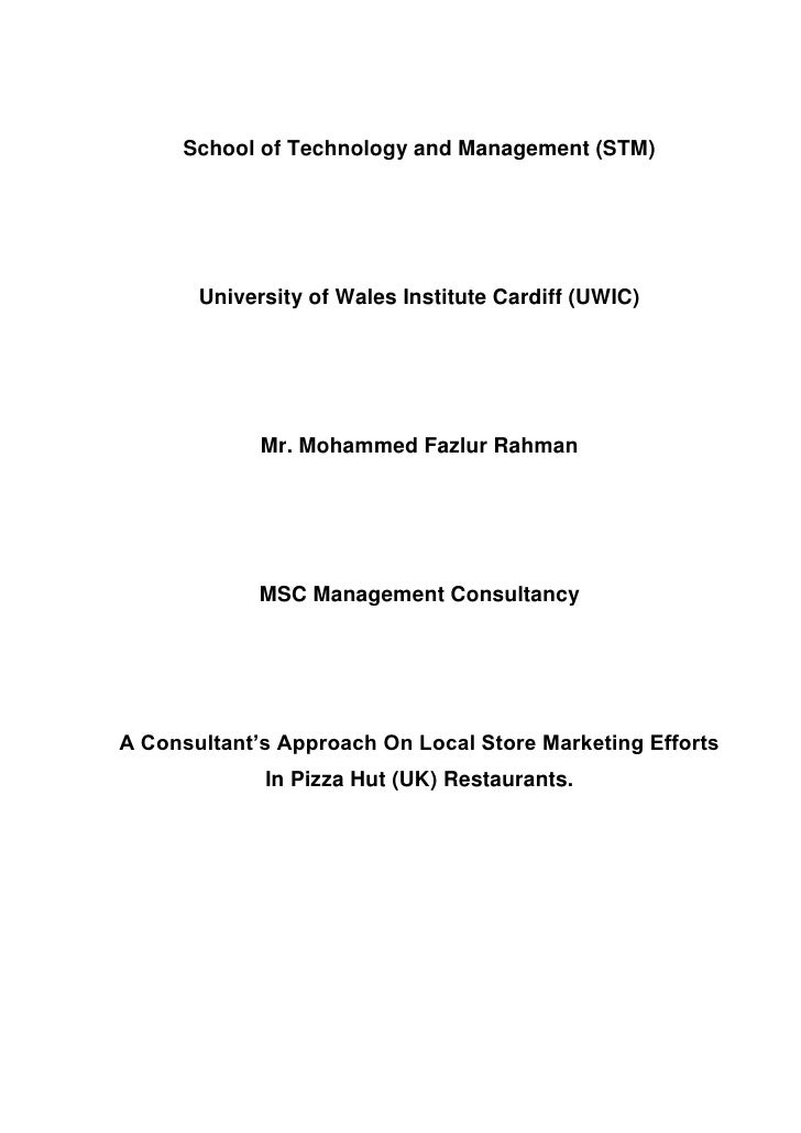 MS Management Consultancy Disseration   2008   University Of Wales, United Kingdom