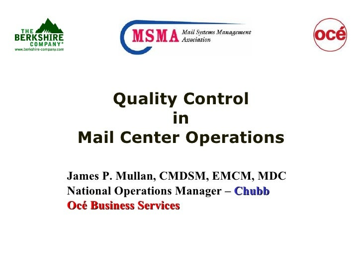 MSMA Webinar Quality Control In Mail CenterOperations