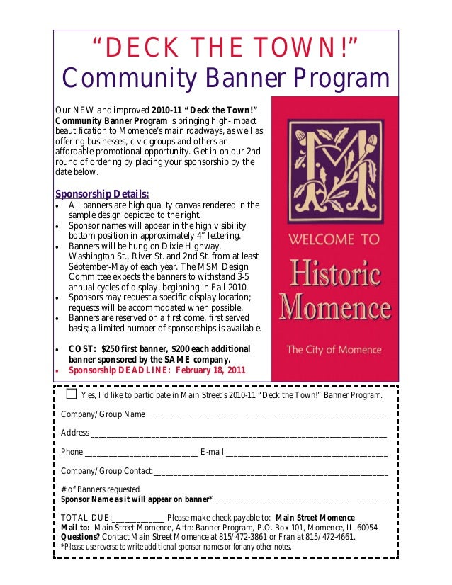 """DECK THE TOWN!"" Community Banner Program Our NEW and improved 2010-11 ""Deck the Town!"" Community Banner Program is bringi..."