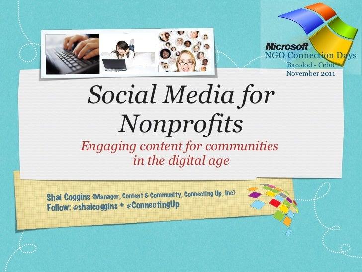 Social Media for Nonprofits: MS NGO Connection Days in Bacolod & Cebu 2011