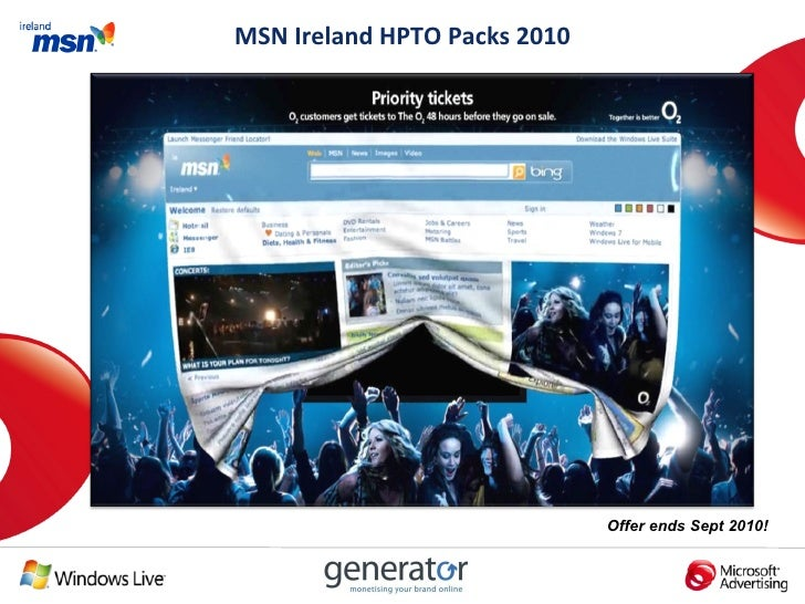MSN Ireland Homepage Takeover July Sept Packages 2010