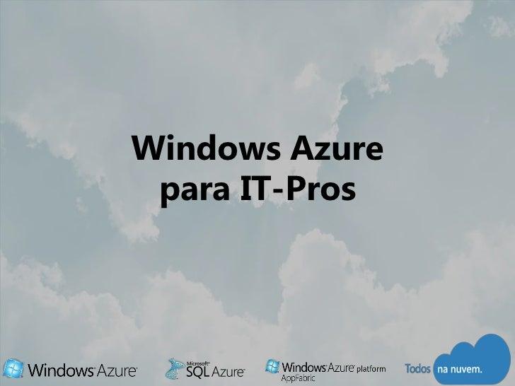 Windows Azure para IT-Pros