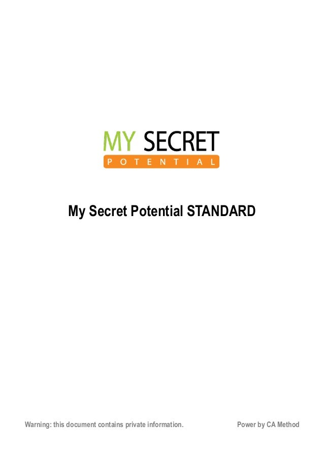 My Secret Potential STANDARD Test