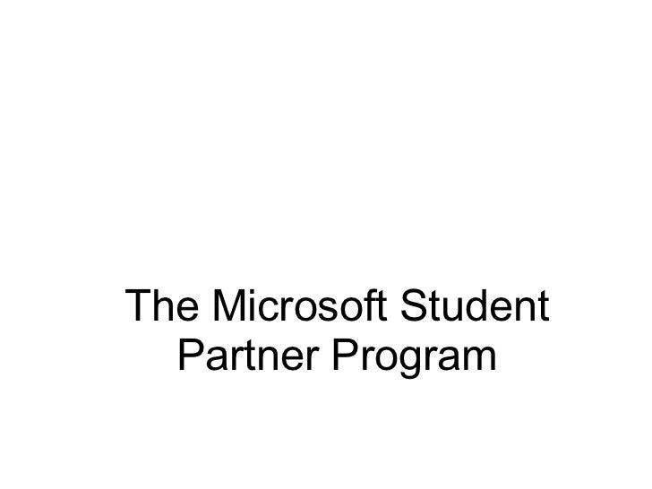 The Microsoft Student Partner Program