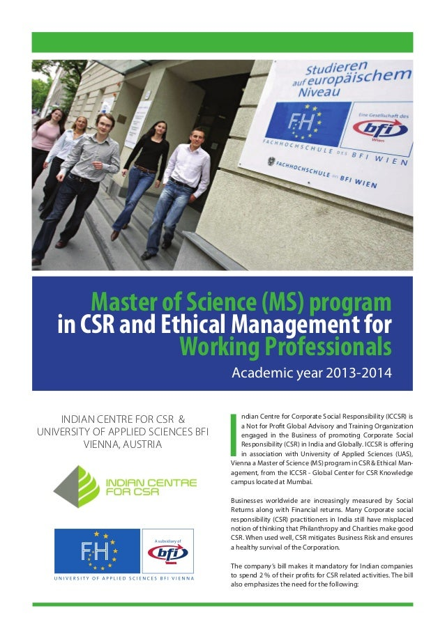 Ms program in csr and ethical mgt working professionals