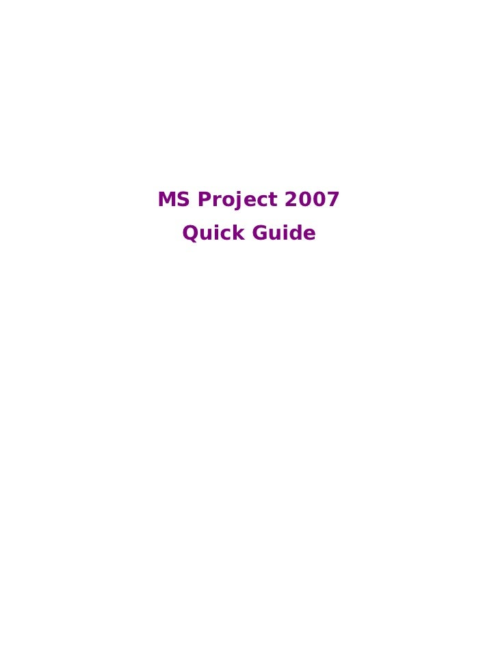 Ms project2007 quickguide