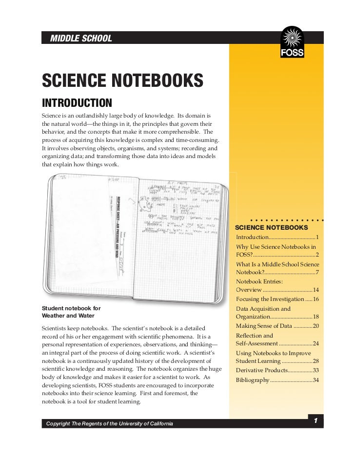 MIDDLE SCHOOLSCIENCE NOTEBOOKSINTRODUCTIONScience is an outlandishly large body of knowledge. Its domain isthe natural wor...
