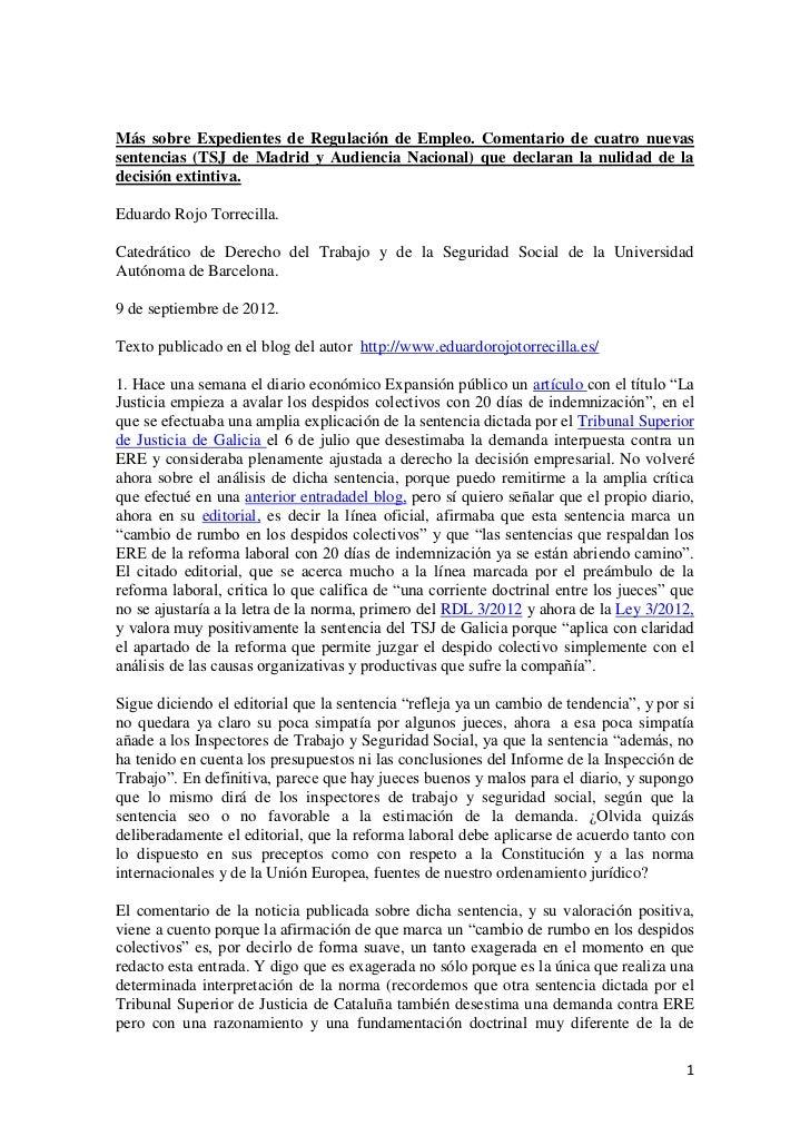 Más sobre Expedientes de Regulación de Empleo. Comentario de cuatro nuevas sentencias (TSJ de Madrid y Audiencia Nacional) que declaran la nulidad de la decisión extintiva.