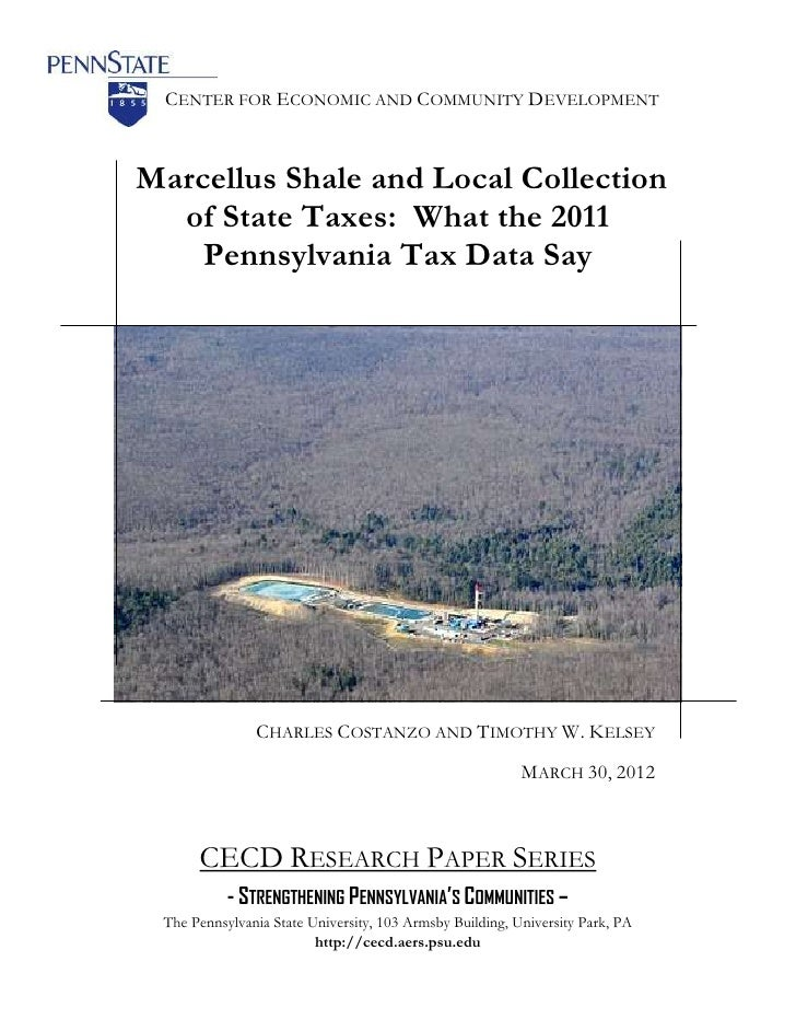 CENTER FOR ECONOMIC AND COMMUNITY DEVELOPMENTMarcellus Shale and Local Collection  of State Taxes: What the 2011    Pennsy...