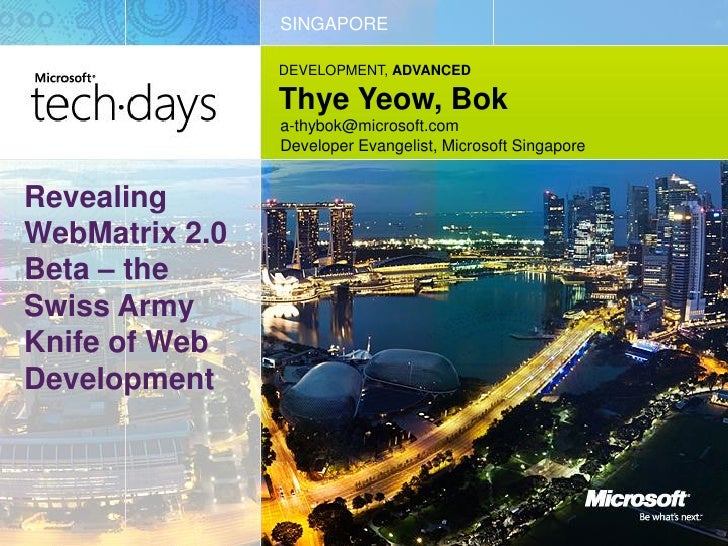 MS TechDays 2011 - Revealing WebMatrix 2.0 Beta - the Swiss Army Knife of Web Development