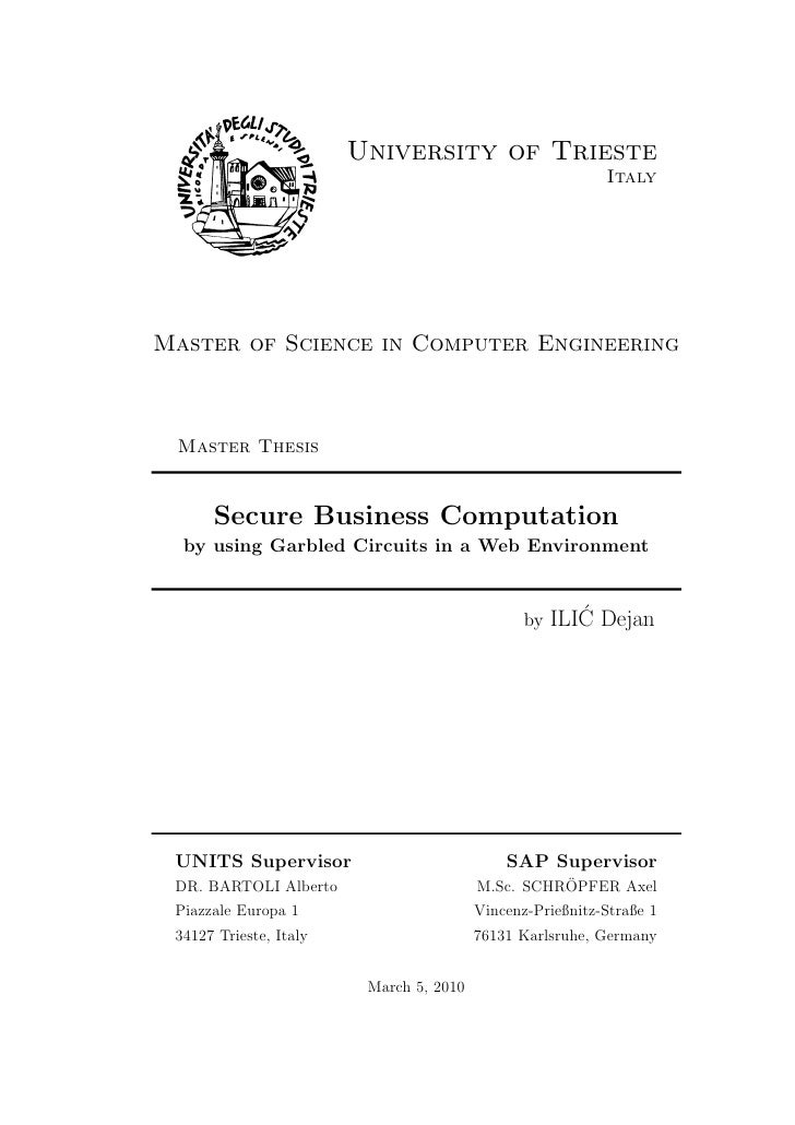 ILIC Dejan - MSc: Secure Business Computation by using Garbled Circuits in a Web Environment