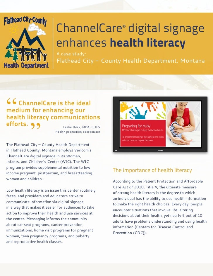 ChannelCare® digital signage                             enhances health literacy                             A case study...