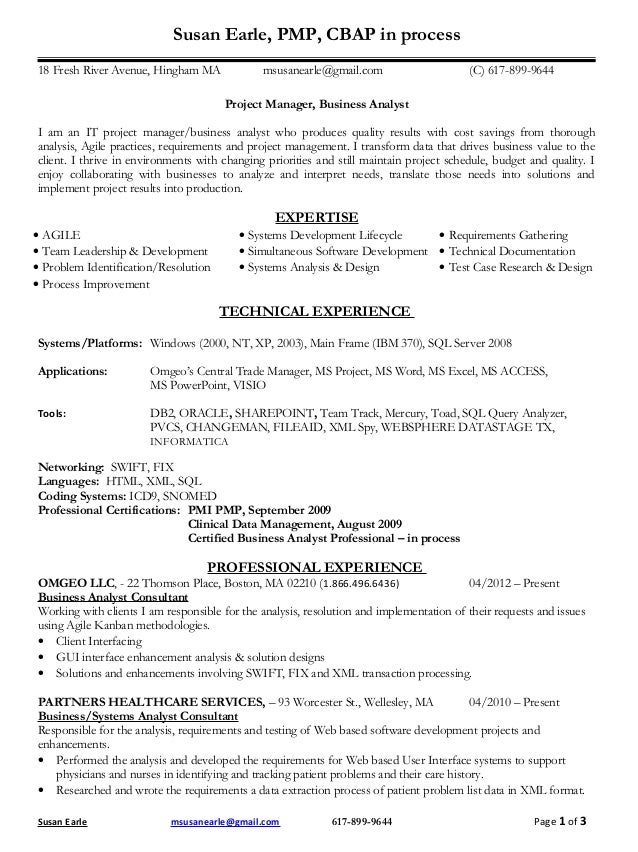 m susan earle pmp resume