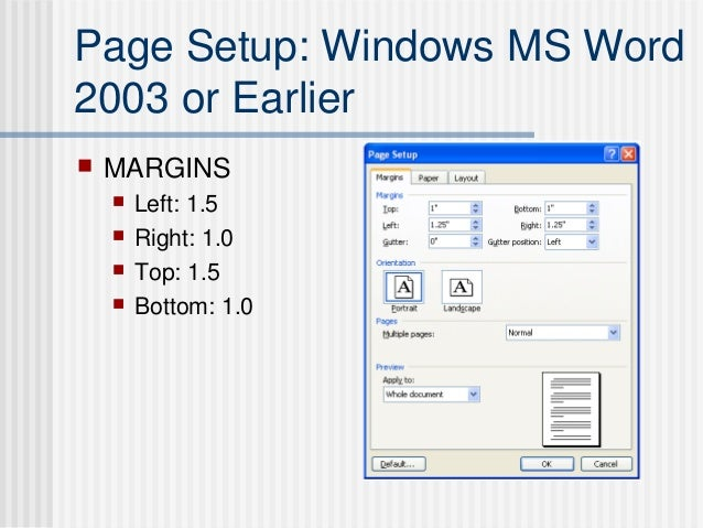 thesis pagination in word