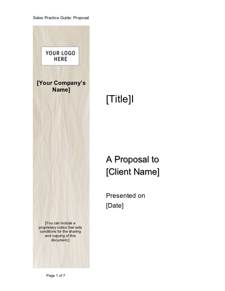 Sales Practice Guide: Proposal  [Your Company's       Name]                                 [Title]I                      ...