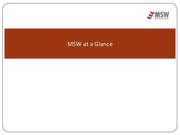 MSW at a Glance<br />