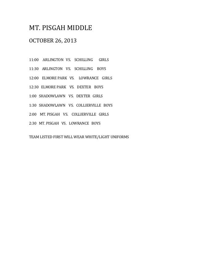 2013 Mt. Pisgah Jamboree Schedule