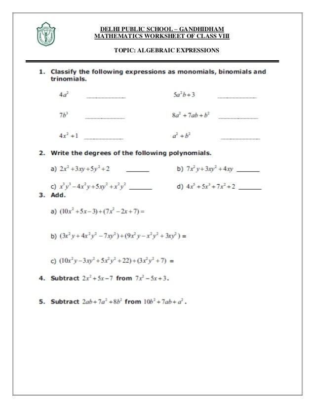 math worksheet : maths algebraic expression and identities : Math Worksheets Algebraic Expressions