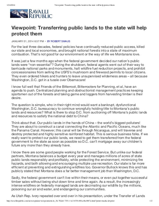 1/24/2014  Viewpoint: Transferring public lands to the state will help protect them  Viewpoint: Transferring public lands ...