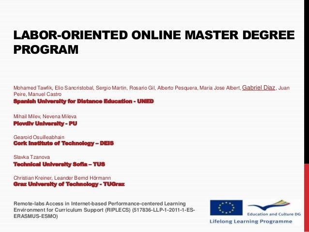 REV 2012 - Labor-Oriented Online Master Degree Program