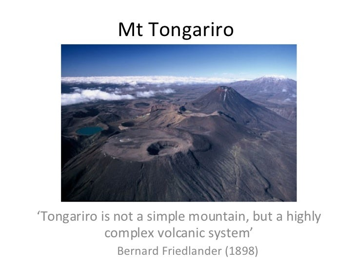 Mt Tongariro <ul><li>' Tongariro is not a simple mountain, but a highly complex volcanic system' </li></ul><ul><ul><li>Ber...