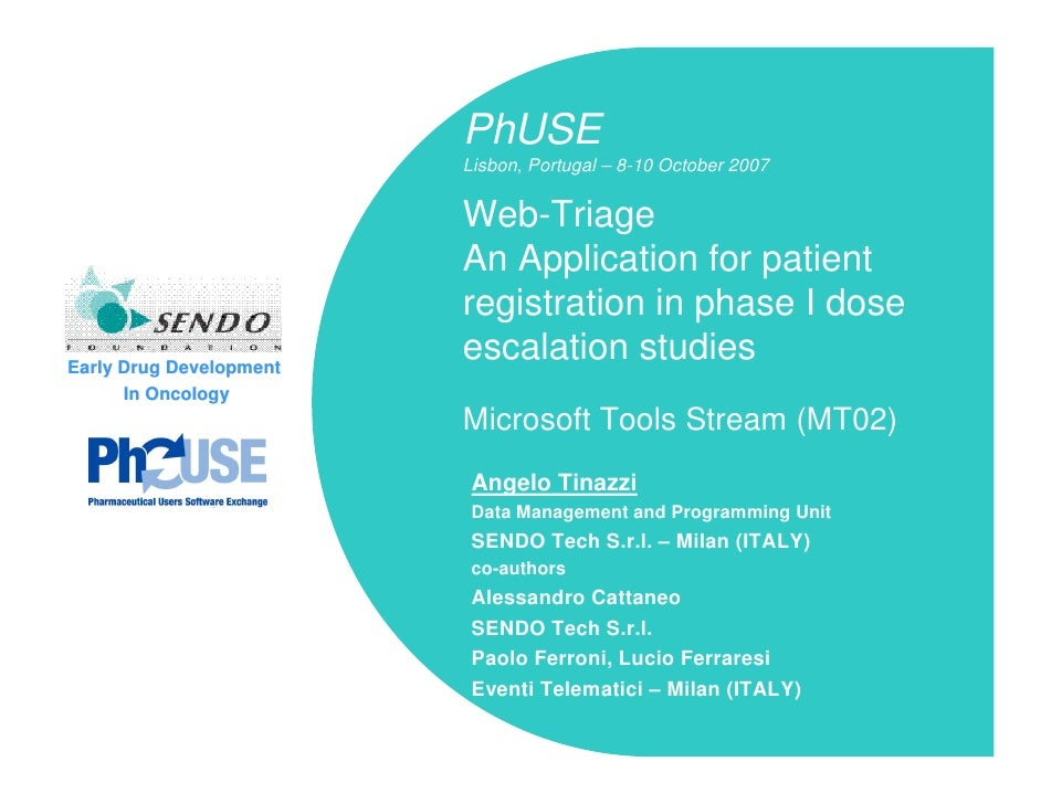 Web-Triage An Application for patient registration in phase I dose escalation studies