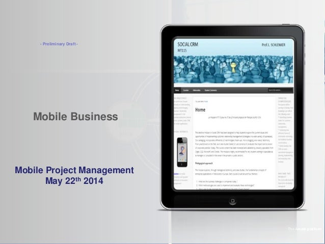 Mobile Business The Amaté platform Mobile Project Management May 22th 2014 - Preliminary Draft -