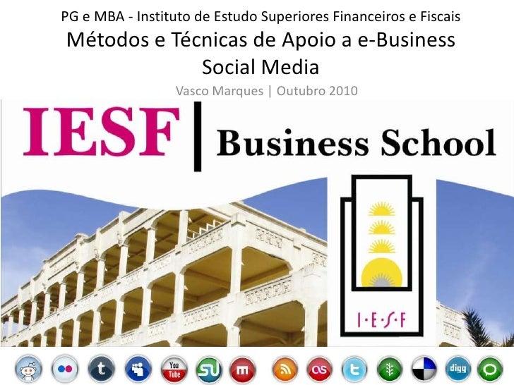 MBA PG - MTA e-Business | Social Media