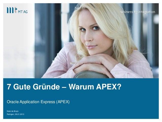 | 7 Gute Gründe – Warum APEX? Oracle Application Express (APEX) Niels de Bruijn Ratingen, 29.01.2013