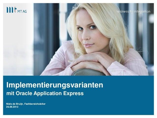 | Implementierungsvarianten mit Oracle Application Express Niels de Bruijn, Fachbereichsleiter 26.09.2012