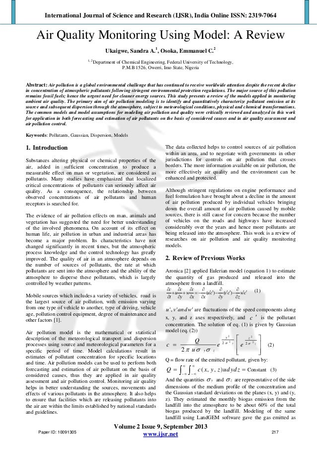 Air Quality Monitoring Using Model: A Review