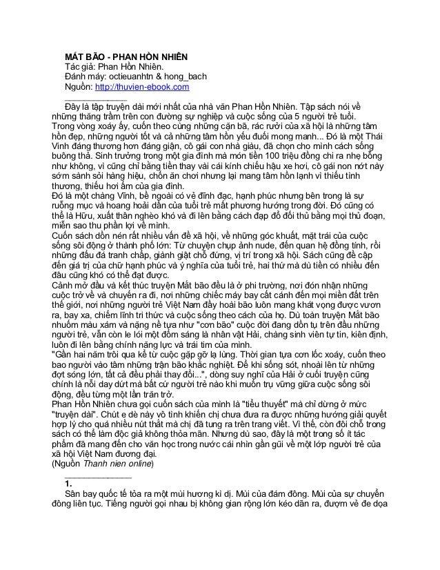 MẮT BÃO - PHAN HỒN NHIÊN    Tác giả: Phan Hồn Nhiên.    Đánh máy: octieuanhtn & hong_bach    Nguồn: http://thuvien-ebook.c...