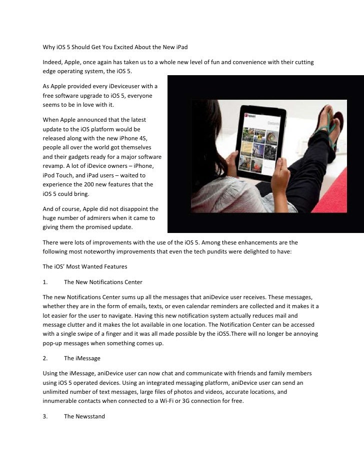 Why iOS 5 Should Get You Excited About the New iPadIndeed, Apple, once again has taken us to a whole new level of fun and ...