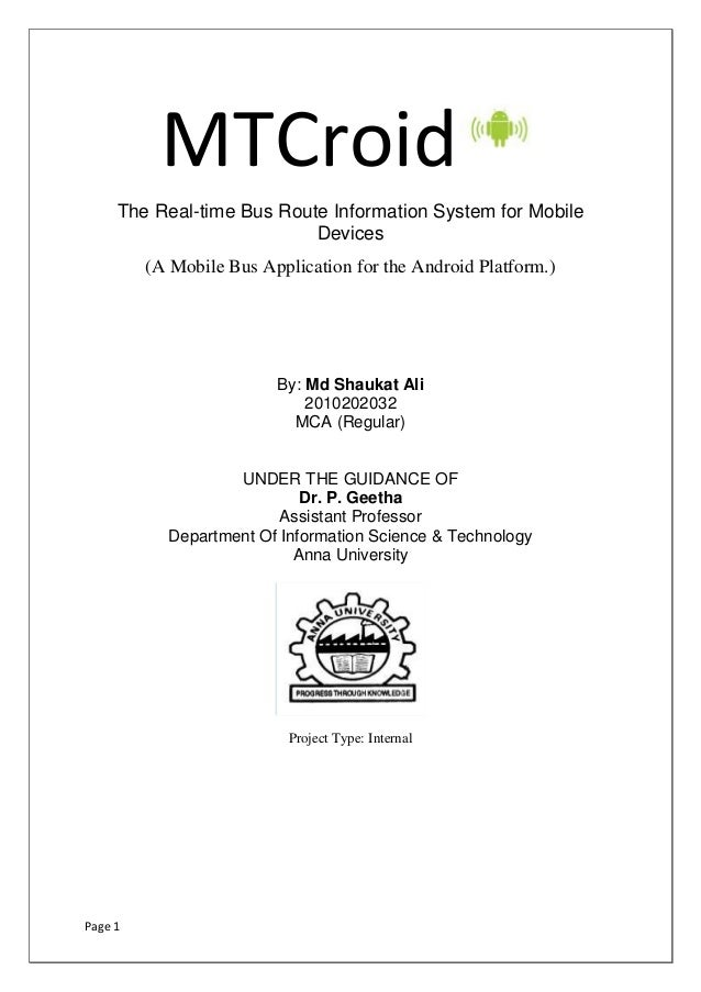 MTCroid     The Real-time Bus Route Information System for Mobile                           Devices         (A Mobile Bus ...