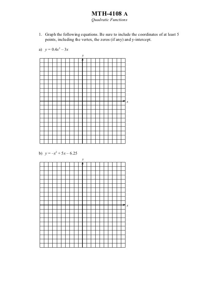 MTH-4108 A                              Quadratic Functions1. Graph the following equations. Be sure to include the coordi...