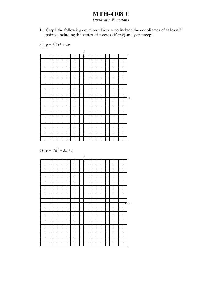 MTH-4108 C                              Quadratic Functions1. Graph the following equations. Be sure to include the coordi...
