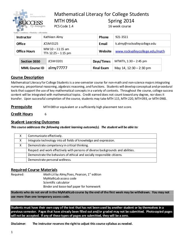 Mathematical Literacy for College Students MTH 096A Spring 2014 PCS Code 1.4  16 week course  Instructor  Kathleen Almy  P...