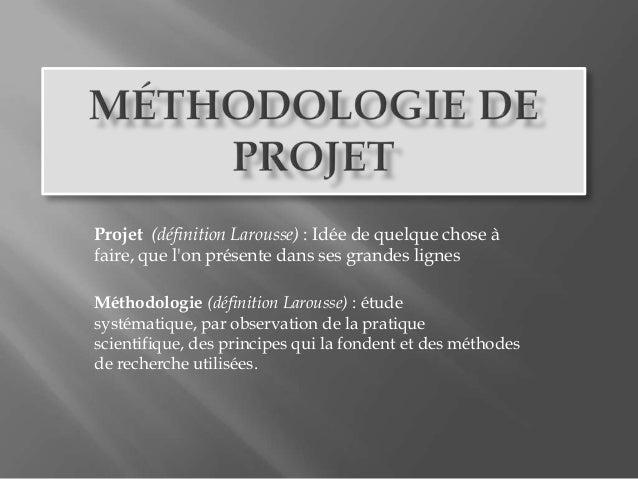 Projet (définition Larousse) : Idée de quelque chose àfaire, que lon présente dans ses grandes lignesMéthodologie (définit...