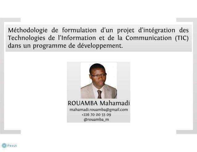 Méthodologie de formulation d'un projet TIC pour le développement