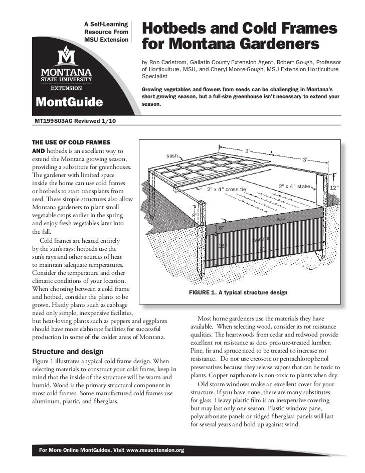 Hotbeds and Cold Frames                                           for Montana Gardeners                                   ...