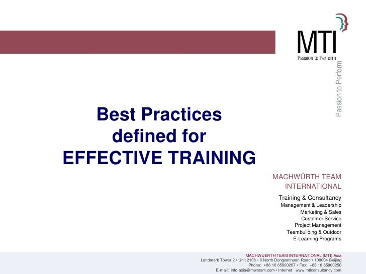 Passion to Perform    Best Practices     defined for EFFECTIVE TRAINING                                                 MA...