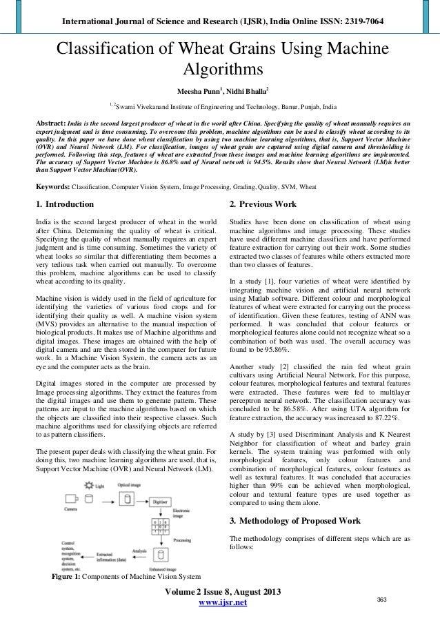 Classification of Wheat Grains Using Machine Algorithms