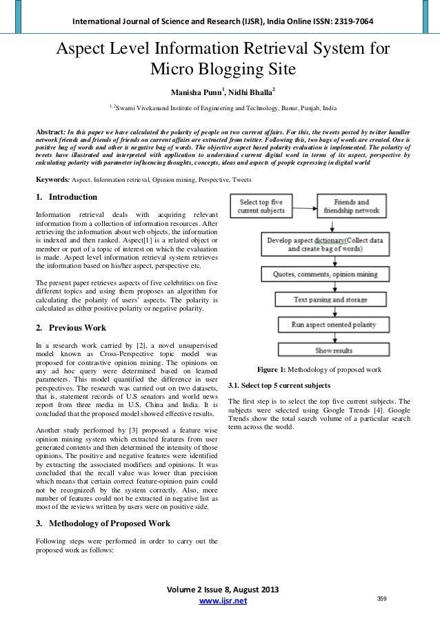 Aspect Level Information Retrieval System for Micro Blogging Site