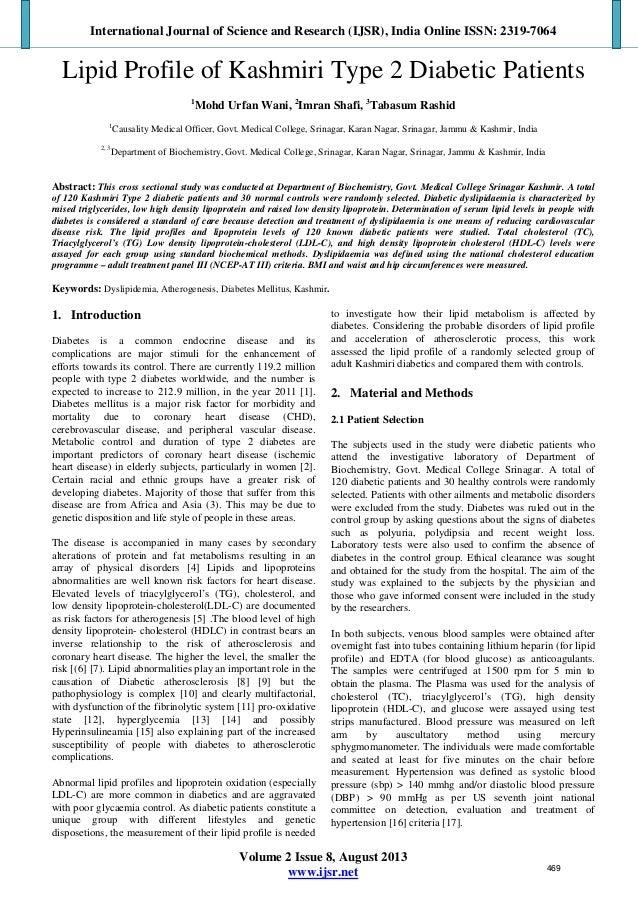 Lipid Profile of Kashmiri Type 2 Diabetic Patients