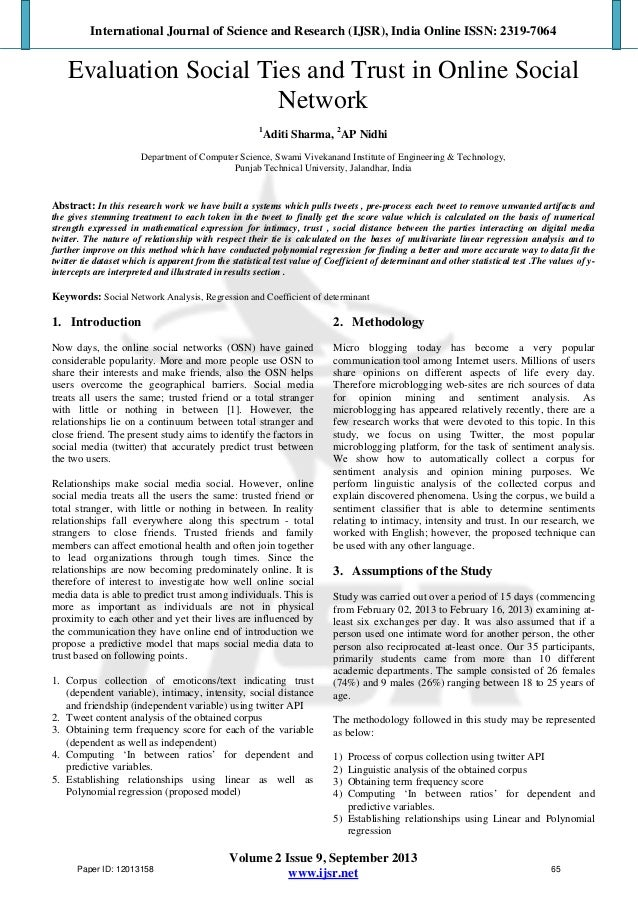 Evaluation Social Ties and Trust in Online Social Network