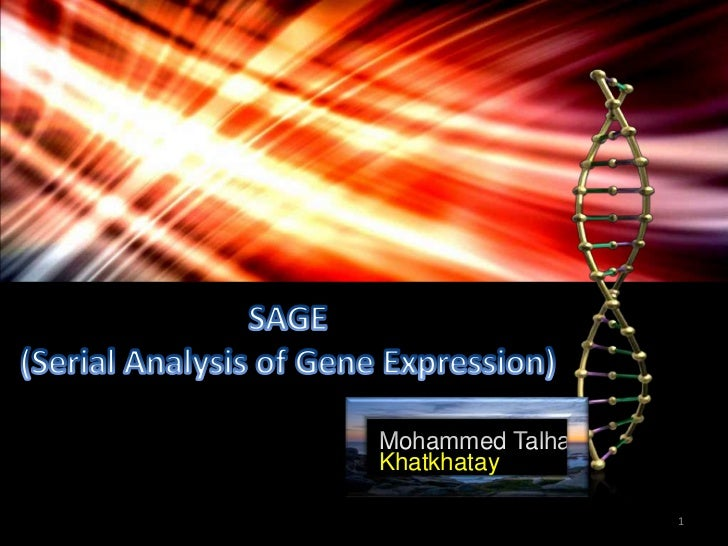 Mohammed Talha<br />Khatkhatay<br />1<br />SAGE<br />(Serial Analysis of Gene Expression)<br />SAGE<br />(Serial Analysis ...