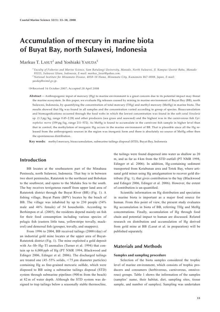 Coastal Marine Science 32(1): 33–38, 2008Accumulation of mercury in marine biotaof Buyat Bay, north Sulawesi, IndonesiaMar...