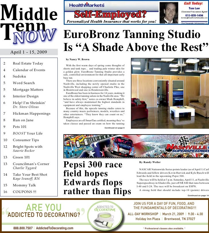 "EuroBronz Tanning Studio      April 1 - 15, 2009                                     Is ""A Shade Above the Rest""          ..."