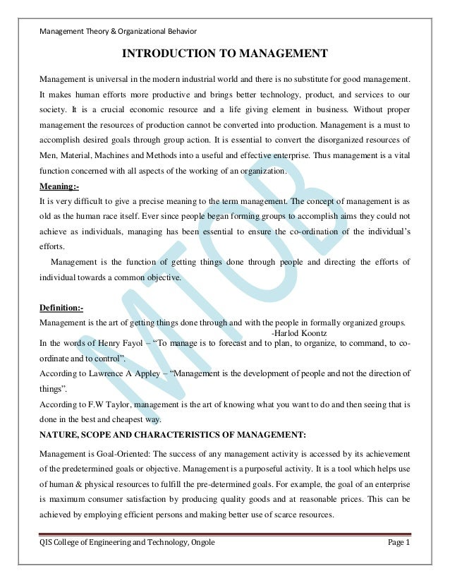 importance of organisational behaviour The nature of organisational behaviour the scope for the examination of behaviour in organisations is very wide there are a multiplicity of interrelated factors which influence the behaviour and performance of people as members of a  tional behaviour and the importance of the role of management in work organisations this chapter highlights the significance of the people–organisation relationship.